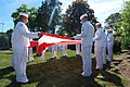 Flickr - Official U.S. Navy Imagery - Sailors hold American flag during 9-11 ceremony..jpg