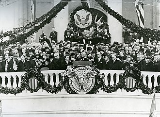 Oath of office of the President of the United States - Franklin D. Roosevelt being administered the oath of office by Chief Justice Charles Evans Hughes on March 4, 1933, the first of Roosevelt's four presidential inaugurations.