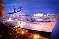 Flood lit shot of HMS Illustrious. MOD 45145941.jpg