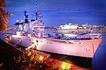 Flood lit shot of HMS Illustrious. MOD 45145941.jpg