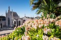 Flowers around a mausoleum, Prazeres cemetery, Lisbon, Portugal (PPL1-Corrected) julesvernex2.jpg