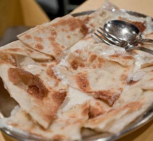 Focaccia - Focaccia col formaggio or focaccia di Recco, a typical variety of focaccia made in Recco