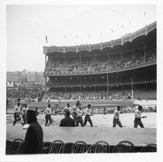 1940 Fordham Rams football team - Fordham gets ready to take on NYU in Yankee Stadium in front of 35,000 fans