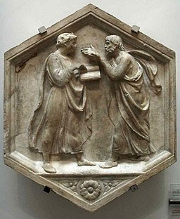 Formella 21, platone e aristotele o la filosofia, luca della robbia, 1437-1439, via Wikimedia Commons
