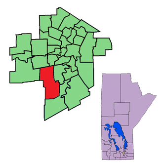 Fort Whyte - The 1999-2011 boundaries of the riding of Fort Whyte highlighted in red.