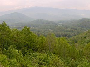 Cosby, Tennessee - The Cosby Creek Valley, looking southwest from Foothills Parkway (Green Mountain)