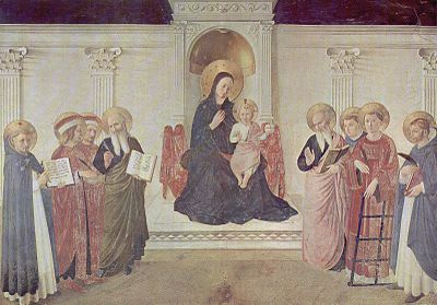 The Maestà (Madonna enthroned) with Saints Cosmas and Damian, St Mark and St John, St Lawrence and three Dominicans, St Dominic, St Thomas Aquinas and St Peter Martyr; San Marco, Florence.