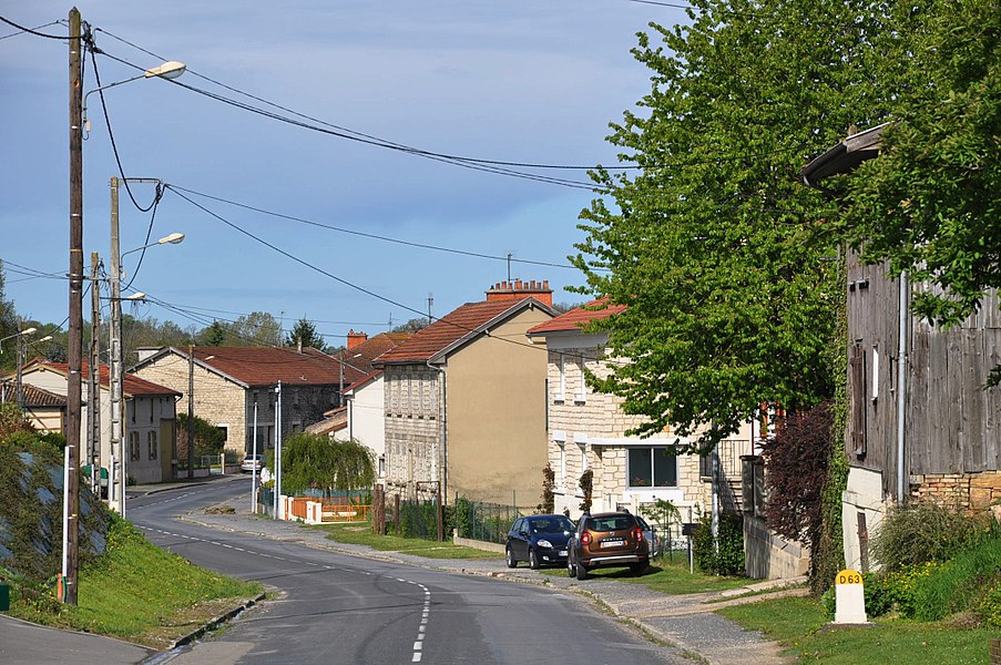 The Rue du Chemin de Chalons (main street, D63) in Villers-en-Argonne (canton Sainte-Menehould, Marne department, Champagne-Ardenne region, France).
