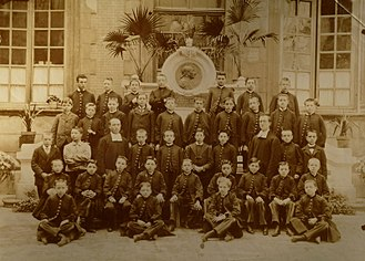 Lycée des Francs-Bourgeois - A class at the commercial school of the Francs-Bourgeois in 1890.