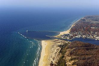Frankfort, Michigan - Aerial view of Frankfort Harbor
