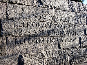 Franklin Delano Roosevelt Memorial - A memorial wall engraved with the Four Freedoms.
