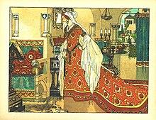 La matrigna davanti allo specchio magico. Illustrazione tedesca di Franz Jüttner, 1905