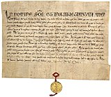 Frederick II swear an oath to pope honorius III in haguenau september 1219 (parchment from the vatican secret archives - recto).jpg