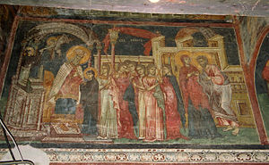 Presentation of Mary - Fresco of the Presentation of the Virgin Mary from the Serbian Orthodox Church of the Entrance of the Virgin Mary into the Temple, Skopje, Republic of Macedonia