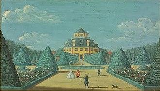 Frydenlund -  Frydenlund painted by Johan Jacob Bruun in 1749