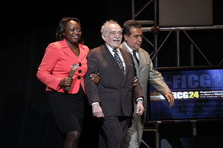 Garcia Marquez with the Colombian Culture Minister Paula Moreno (left) at the Guadalajara International Film Festival, in Guadalajara, Mexico, in March 2009 Gabriel Garcia Marquez (2009).jpg