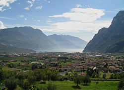 Riva del Garda view with Lake Garda on the background