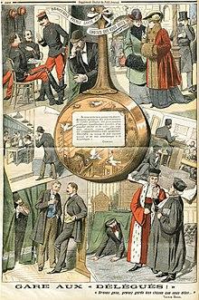 Quatro desenhos policromados de cada lado de uma grande panela;  essas cenas retratam situações de espionagem por um delegado de Combes.