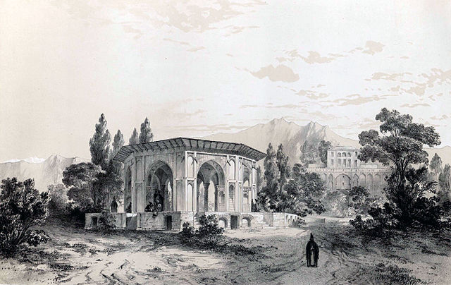 http://upload.wikimedia.org/wikipedia/commons/thumb/9/98/Gazebo_and_gardens_of_the_palace_of_Qasr_e_Qajar_by_Eug%C3%A8ne_Flandin.jpg/640px-Gazebo_and_gardens_of_the_palace_of_Qasr_e_Qajar_by_Eug%C3%A8ne_Flandin.jpg?uselang=fa