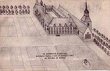 Dessin noir et blanc représentant des bâtiments, une église et des jardins.