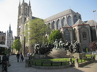 St Bavo's Cathedral, Ghent - Cathedral from J Van Eyck Square.