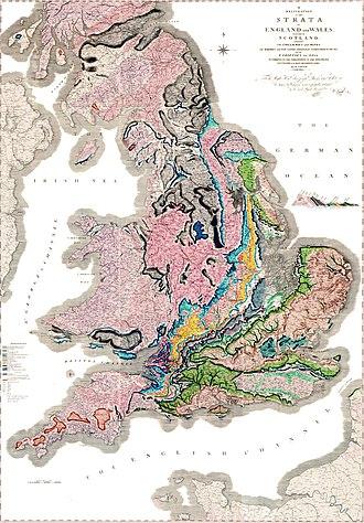 Первая геологическая карта У.Смита, 1815 год