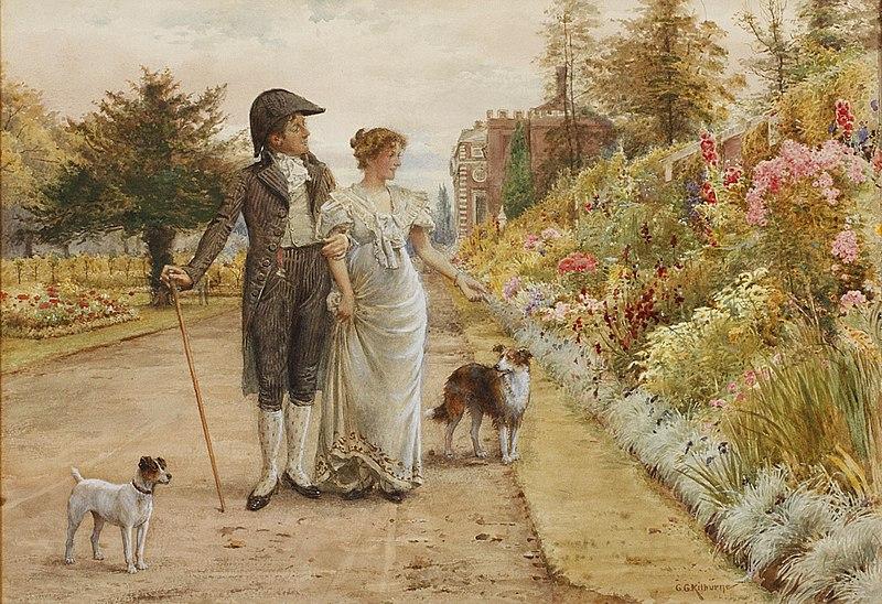 File:George Goodwin Kilburne A garden stroll.jpg