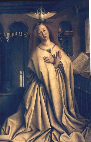 Annunciation (van Eyck, Madrid) - Ghent exterior: The Virgin Annunciate