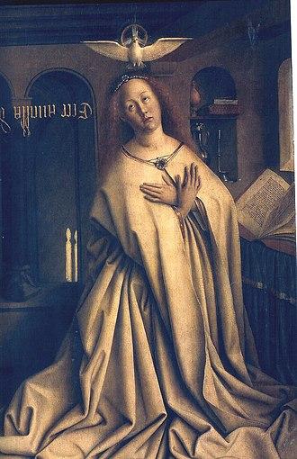 Annunciation (van Eyck, Madrid) - Ghent exterior: The Virgin Annunciate