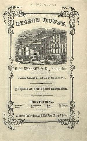 Gibson House (Cincinnati) - Gibson House menu on March 11, 1860