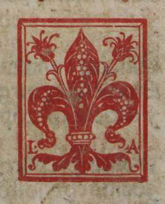 Lucantonio Giunti - The Florentine giglio, printer's mark of Lucantonio Giunti, from a missal printed in Venice in 1521