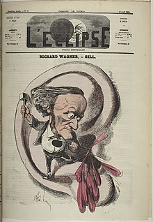 A cartoon showing a misshappen figure of a man with a tiny body below a head with prominent nose and chin standing on the lobe of a human ear. The figure is hammering the sharp end of a crochet symbol into the inner part of the ear and blood pours out.