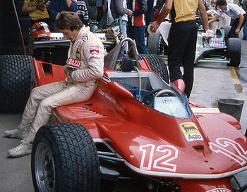 Gilles Villeneuve with his Ferrari 312T4 in Au...