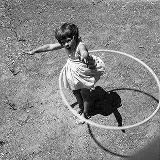 Hula hoop - Girl twirling a Hula hoop, 1958