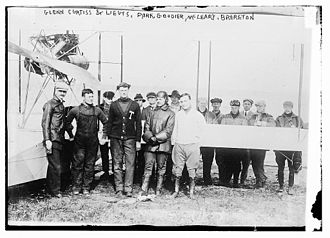 Lewis H. Brereton - L-R (in front of wing): Glenn Curtiss, Joseph D. Park, Lewis E. Goodier, Jr., Samuel H. McLeary and Brereton, December 4, 1912.