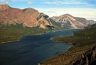 Lake on the boarder of Glacier County, Montana, USA and Canada