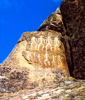Petroglyphs in Gobustan, Azerbaijan, dating back to 10,000 BC. It is a UNESCO World Heritage Site. Gobustan ancient Azerbaycan full.jpg