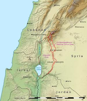 Lebanon–Syria border - map of the Golan Heights area