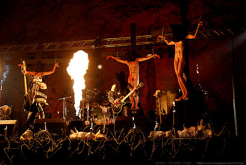 "Video shoot for ""Carving a Giant"" by Gorgoroth, which features mock crucifixions Gorgoroth by Christian Misje.jpg"