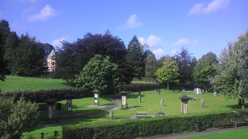 Late summer view of the Gorsedd Park, in Lampeter, showing the Gorsedd Stones and the activity trail.