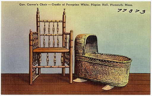 Gov. Carver's Chair -- Cradle of Peregrine White, Pilgrim Hall, Plymouth, Mass (77373)
