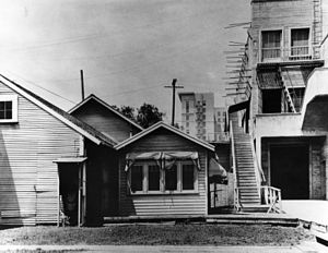 "Paramount Pictures -  Lasky's original studio (a.k.a. ""The Barn"") as it appeared in the mid 1920s. The Taft building, built in 1923, is visible in the background."
