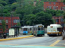 Green Line and 14 bus at Heath Street in 2005.jpg