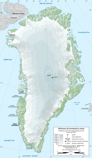 Geography of Greenland - Outline map of Greenland with ice sheet depths. (Note that much of the area in green has permanent snow cover, but less than 10m (33ft) thick.)