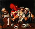 Grotesque parody of an accouchement. Oil painting attributed Wellcome V0017238.jpg