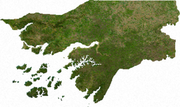 Satellite image of Guinea-Bissau, generated from raster graphics data supplied by The Map Library