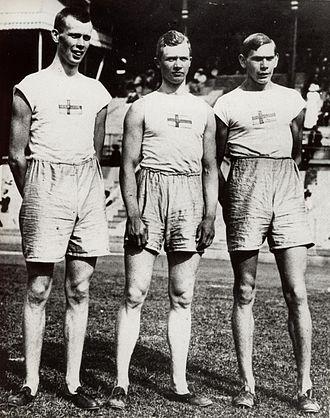 Athletics at the 1912 Summer Olympics – Men's triple jump - Left-right: Gustaf Lindblom, Georg Åberg, Erik Almlöf at the 1912 Olympics