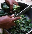 Hâcher les feuilles d'amaranthe (Aux 1000 saveurs de Tayap).JPG
