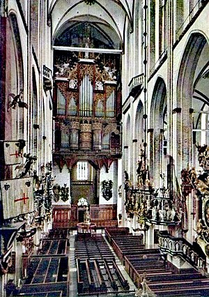 St. Mary's Church, Lübeck - Nave, view to the west, before the destruction