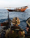 HMS Monmouth's Boarding Team Approach a Dhow MOD 45155252.jpg